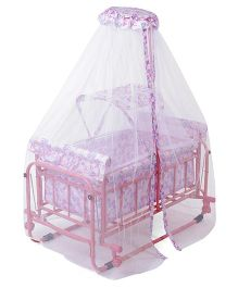 Baby Cradle Cum Bassinet With Mosquito Net Alphabet Print - Pink White