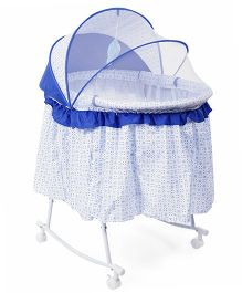 Baby Bassinet With Rocking Function And Mosquito Net - Blue