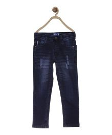 612 League Full Length Distressed Jeans - Dark Blue