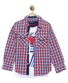 612 League Full Sleeves Checks Shirt With Printed T-Shirt - Red Blue White