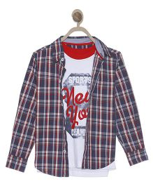 612 League Full Sleeves Checks Shirt With Printed T-Shirt - White Blue