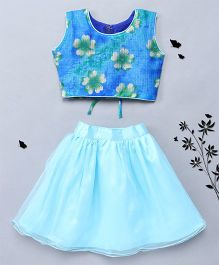 BunChi Spring Charm Floral Print Top Skirt Set - Blue