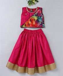 Mom's Girl Abstract Print Sleeveless Choli & Lehenga With Zari Work At Bottom - Magenta