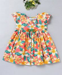 Mom's Girl Floral Print Dress With Bow Applique - Orange