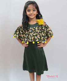 Varsha Showering Trends Butterfly Print Cold Shoulder Dress With Pom Pom - Green