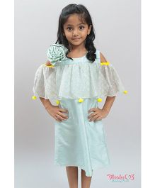 Varsha Showering Trends Flower Applique Cold Shoulder Dress - Sea Green