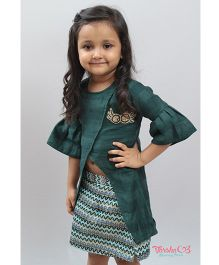 Varsha Showering Trends Embroidered Cross Over Top & Skirt - Green
