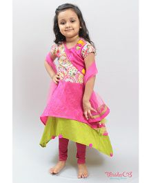Varsha Showering Trends Layered Anarkali Dress & Leggings With Dupatta - Pink & Green