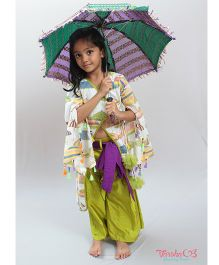 Varsha Showering Trends Umbrella Print Kurta & Pleated Palazzo - Green & Off White