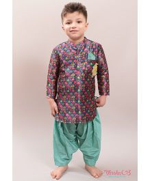 Varsha Showering Trends Small Elephant Print Kurta - Blue