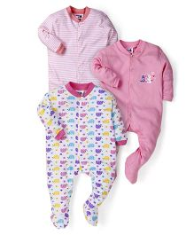 Kidi Wav Multi Prints Footies Pack Of 3 - Pink
