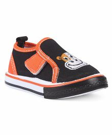 Cute Walk by Babyhug Canvas Shoes Animal Embroidery - Black Orange