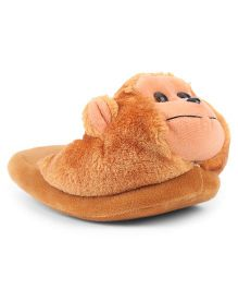 IR Plush Flip Flops Monkey Design - Brown
