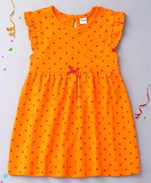 Playbeez Flutter Sleeves Dress Polka Dots Print - Orange Red