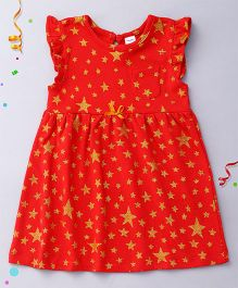 Playbeez Flutter Sleeves Glitter Stars Dress - Red And Yellow
