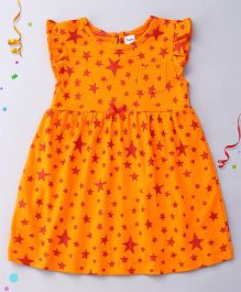 Playbeez Flutter Sleeves Glitter Stars Dress - Orange And Red