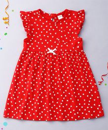 Playbeez Flutter Sleeves Heart Print Dress - Red & White
