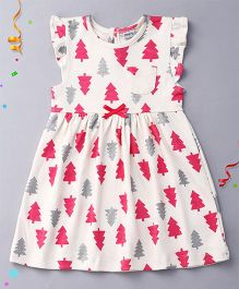 Playbeez Flutter Sleeves Dress Trees Print - Multi Color