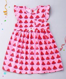 Playbeez Flutter Sleeves Dress Melon Print - Pink