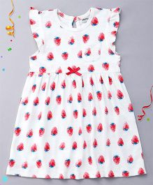 Playbeez Flutter Sleeves Dress Strawberries Print - White Pink