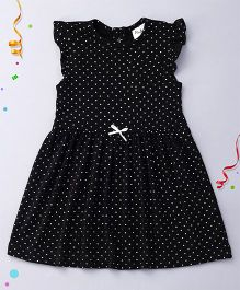 Playbeez Cute Shimmer Polka Dots Dress - Black
