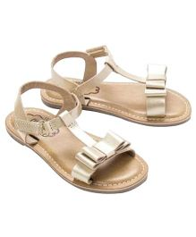 Cujos Open Toe Sandals With Bow - Golden
