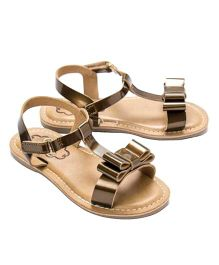 Cujos Open Toe Sandals With Bow - Copper