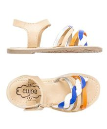 Cujos Cris Cross Open Toe Sandals - Beige