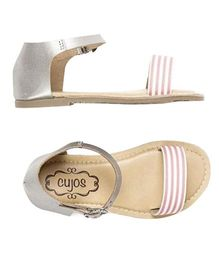 Cujos Striped Strap With Buckle Closure Sandals - Silver