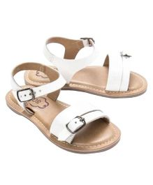 Cujos Buckle Strap Design Sandals - White