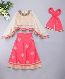 Adores Stylish Ethnic Wear With Cape - Pink
