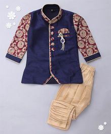 Adores Full Sleeves Kurta And Jodhpuri Breeches - Blue Golden