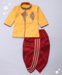 Adores Full Sleeves Kurta And Dhoti Set Bead Detailing - Light Orange Red