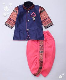 Adores Full Sleeves Kurta And Dhoti - Blue Pink
