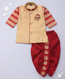 Adores Full Sleeves Kurta And Dhoti Set Bead Detailing - Beige Red