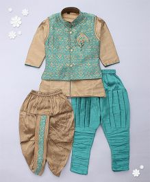 Adores Kurta With Jacket Jodhpuri Breeches And Dhoti Set - Green