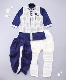 Adores Kurta With Jacket Jodhpuri Breeches And Dhoti Set - Blue