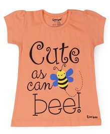 Tiny Bee Short Sleeves Top Bee Print - Orange
