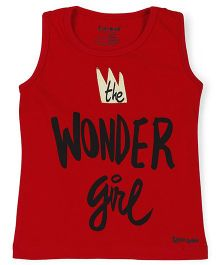 Tiny Bee Sleeveless Top Text Print - Red