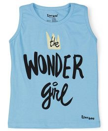 Tiny Bee Sleeveless Top Text Print - Turquoise Blue