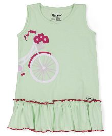Tiny Bee Sleeveless Frock Bicycle Print - Light Green