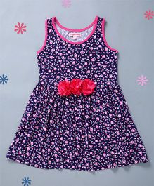 Crayonflakes Flowers Print Flower Applique Knit & Flare Dress - Blue & Pink