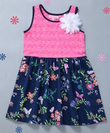 Crayonflakes Floral & Solid Gathered Dress - Pink & Navy
