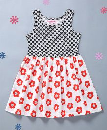 Crayonflakes Flower Print Knit & Flare Dress - Black & Red