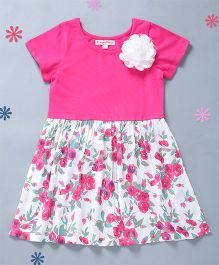 Crayonflakes Flowers Print Knit To Woven Dress - Pink & White