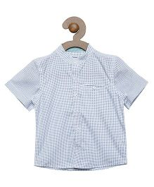 Campana Half Sleeves Shirt Printed With Single Pocket - White & Blue