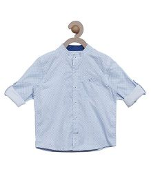 Campana Full Sleeves Dots Print Shirt - Blue