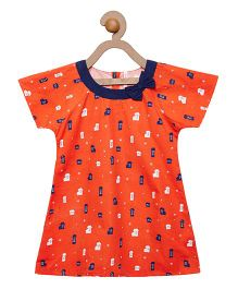 Campana Raglan Sleeves Dress Printed With Bow Applique - Orange & Navy