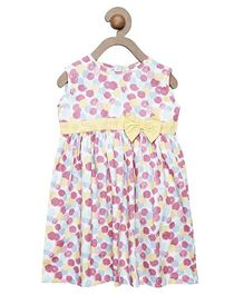 Campana Sleeveless Dress With Floral Print And Bow Applique - Blue Pink Yellow