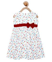 Campana Sleeveless Dress With Floral Print And Bow Applique - White Multicolor